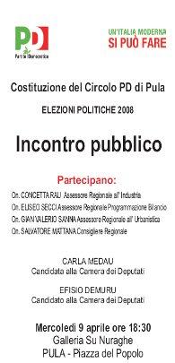 9 Aprile 2008 - Incontro pubblico a Pula